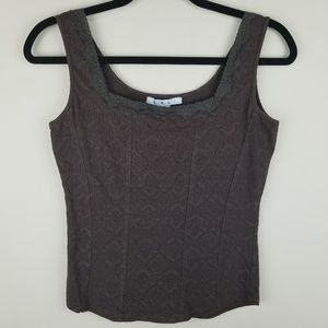 CAbi Brown Lace Camisole Small Sleeveless Tank Top